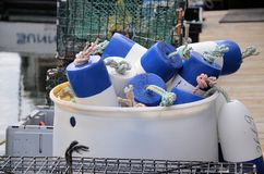Blue bouys. Bouys for marking traps on a lobster boat Royalty Free Stock Photography
