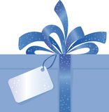 Blue bow. Christmas Present with blue Bow and Tag Stock Photography