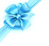 Blue bow. Vector illustration of gift wrapped white paper with a blue ribbon and classic bow Stock Image