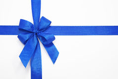 Blue bow. On a white background Stock Photos