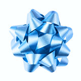 Blue bow. Closeup of decorative blue bow with white background Stock Photos
