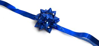 Blue bow. With ribbons Stock Images