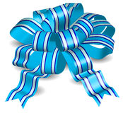 Blue bow. On white background, gift tape the isolated object, vector illustration Stock Photography
