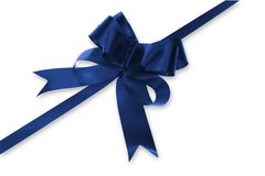 Blue Bow. On white background Royalty Free Stock Photo