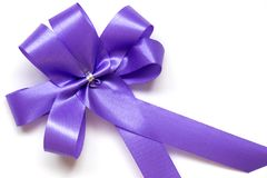 Blue bow as award ribbon. On white background Stock Image