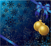 Blue bow with balls. The  illustration contains the image of christmas background Royalty Free Stock Image