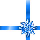 Blue bow on a blue ribbon with white background Stock Photo