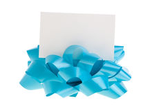 Blue bow with a card Royalty Free Stock Photos