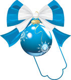 Blue bow with Christmas ball Stock Photos