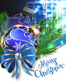 Blue bow and Christmas bauble Stock Images