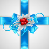 Blue bow with Christmas decorations  on. Blue bow  on white background EPS 10 Stock Images