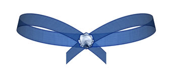 Blue bow with contour Stock Image