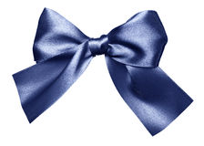 Blue bow made from silk Stock Image