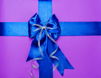 Blue bow made from silk Royalty Free Stock Photography