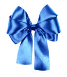Blue bow made from silk ribbon Royalty Free Stock Photography