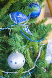Blue bow. New year decor Royalty Free Stock Photography