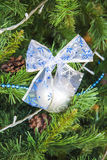 Blue bow. New year decor Stock Photo