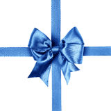 Blue bow photo made from silk Stock Photography