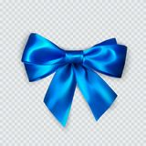 Blue bow. Realistic silk bow. Decoration for gifts and packing blue bow. Vector vector illustration