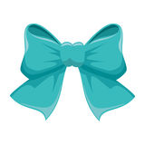 Blue bow ribbon icon decorative Stock Image