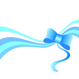 Blue bow with a ribbon isolated on white Royalty Free Stock Image
