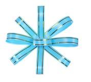 Blue bow ribbon isolated on white. Background Royalty Free Stock Image