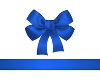 Blue bow and ribbon isolated on Royalty Free Stock Photos