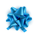 Blue Bow ribbon . Vector illustration for celebration birthday card. Festive blue bow decoration for holiday gift.  Royalty Free Stock Photos