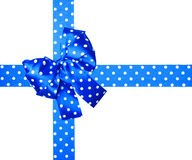 Blue bow and ribbon with white polka dots made from silk Stock Images