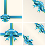 Blue bow with ribbons Stock Images