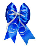 Blue bow with silver ribbon made from silk Stock Photography