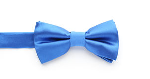 Blue bow tie. Man's blue bow tie on white Royalty Free Stock Image