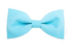 Blue bow tie accessory for respectable people on an isolated whi Stock Images