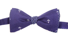 Blue bow tie with a pattern of marine anchors Royalty Free Stock Images