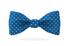 Blue bow tie with print a polka dots. Vector illustration in cartoon style. Vintage elegant bowtie Stock Photo