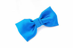 Blue bow tie on white royalty free stock photos