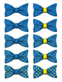 Blue bow tie with yellow dots set realistic vector illustration. Isolated on white background Royalty Free Stock Photo