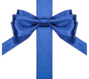 Blue bow with vertical cut ends on ribbon close up Royalty Free Stock Photos