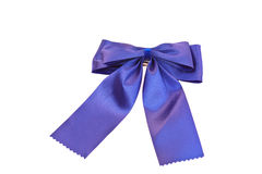 Blue bow on white background. Blue bow ribbon made of silk Royalty Free Stock Photos