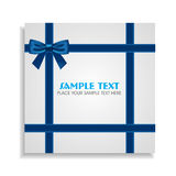 Blue Bow on the White Gift Card Royalty Free Stock Photography