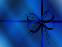 Blue bow and wrapping paper Stock Photo