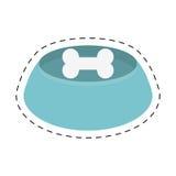 Blue bowl bone food dog line dotted. Illustration eps 10 Royalty Free Stock Image