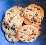 Blue Bowl of Chocolate Chip Cookies Stock Images
