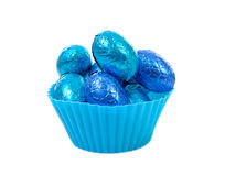 Blue bowl with easter eggs Stock Photo