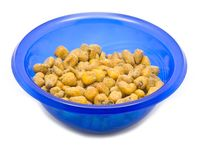 Blue bowl with fried corn Stock Image