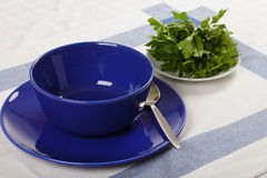 Blue bowl and plate Stock Photo
