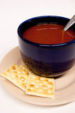 Blue Bowl of Tomato Soup Royalty Free Stock Photos
