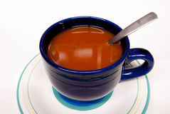 Blue Bowl of Tomato Soup Stock Photo