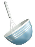 Blue bowl with a whisk. Blue bowl with a wire whisk isolated on a white background. 3D render Royalty Free Stock Photo