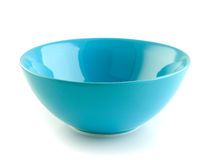 Blue bowl on the white background Stock Photography